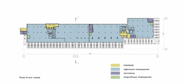Реконструкция фабрики «Даниловская мануфактура» под деловой центр в стиле LOFT. План 6 этажа © Сити-Арх