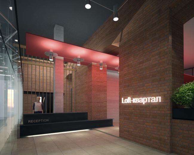 Реконструкция фабрики «Даниловская мануфактура» под деловой центр в стиле LOFT. Входное лобби © Сити-Арх