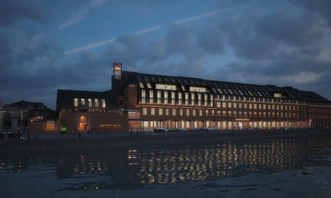 Реконструкция фабрики «Даниловская мануфактура» под деловой центр в стиле LOFT. Ночной вид © Сити-Арх