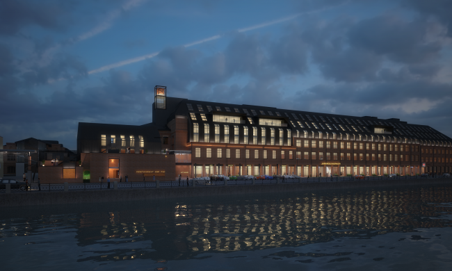"""Reconstruction project of """"Danilovskaya Manufactura"""" Factory into a LOFT business center. Night view © City-Arch"""
