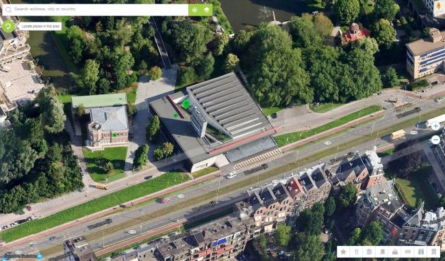 Общий вид Кунстхала в Роттердаме. Спутниковая съемка © DigitalGlobe, 2015. Картографические данные © Google, 2015