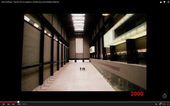 «Турбинный зал» в галерее Тейт Модерн, Лондон, архитекторы Herzog & de Meuron. Слайд из лекции Колхаса в Стокгольме, март 2013