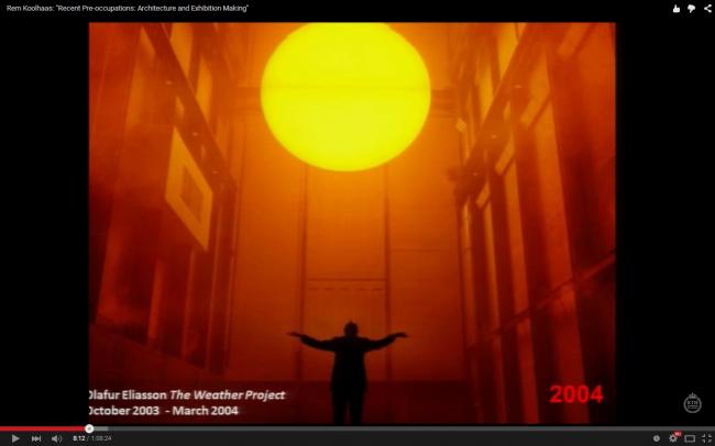Инсталляция Олафура Элиассона Weather Project в «Турбинном зале» галереи Тейт Модерн. Слайд из лекции Колхаса в Стокгольме, март 2013