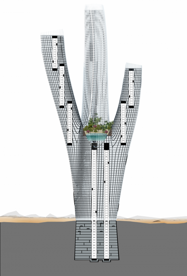 The project of Hyperion skyscraper. Section view © Panacom