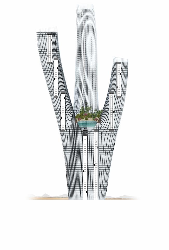 Проект небоскреба Hyperion. Разрез © Panacom