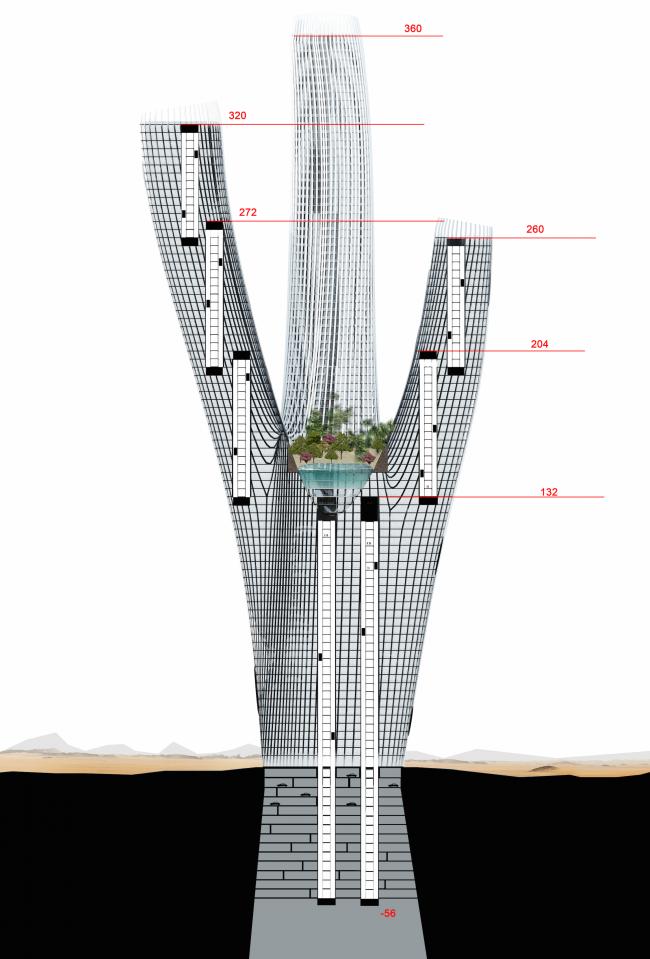 Проект небоскреба Hyperion. Отметки © Panacom