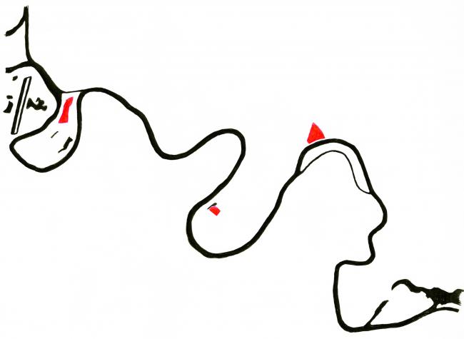 Схема расположения знаковых точек на Москве-реке: Кремль, Новодевичий монастырь, Парламентский центр