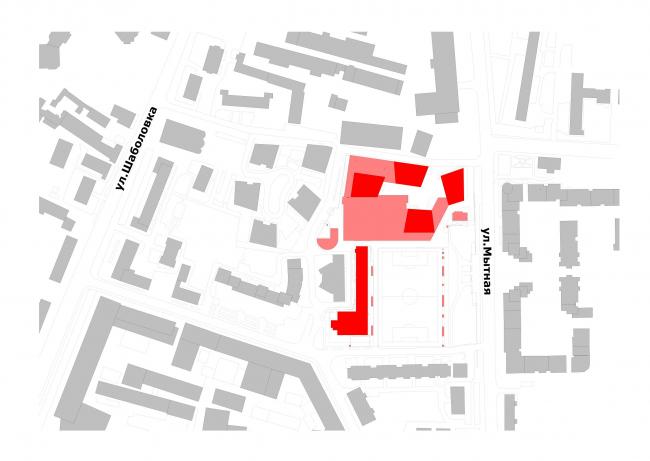 Multifunctional complex at Mytnaya Street. Location plan © Ostozhenka