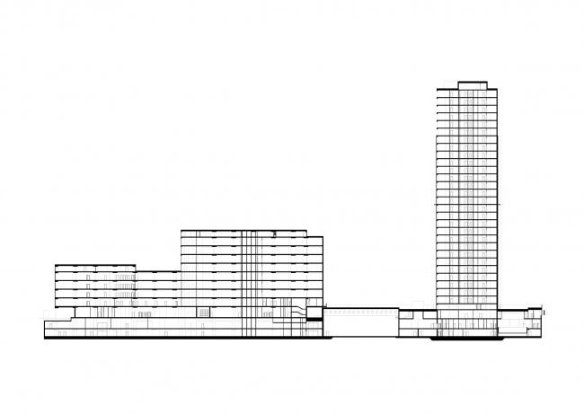 Multifunctional complex at Mytnaya Street. Section view © Ostozhenka