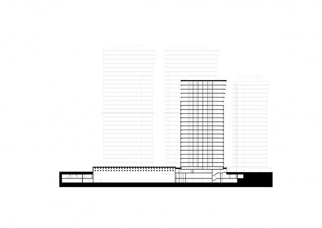 Многофункциональный комплекс на Мытной улице. Разрез © АБ «Остоженка»