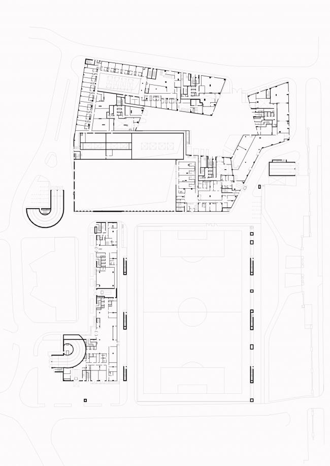 Multifunctional complex at Mytnaya Street. Plan of the 0 floor © Ostozhenka