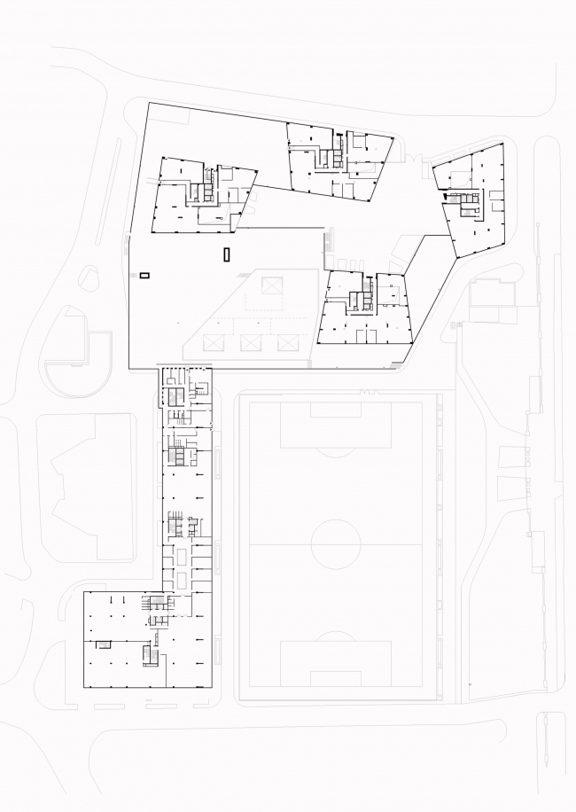 Multifunctional complex at Mytnaya Street. Plan of the first floor © Ostozhenka