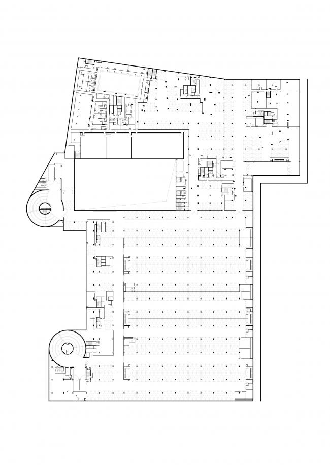 Multifunctional complex at Mytnaya Street. Plan of the -1st floor © Ostozhenka