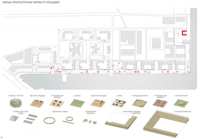 Концепция реорганизации набережной «Ривер Парк». Малые архитектурные формы © WOWhaus
