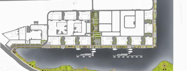 Концепция реорганизации набережной «Ривер Парк». Генеральный план. Конкурсный проект, 2015 © T+T architects