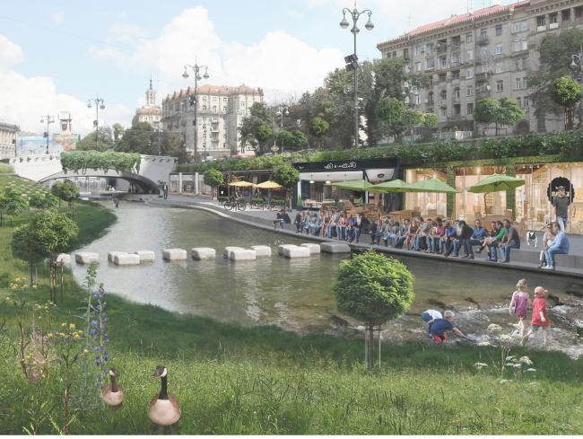 Конкурсный проект «Возрождение реки Крещатик» © Семен Поломаный, Виктор Билоус и другие
