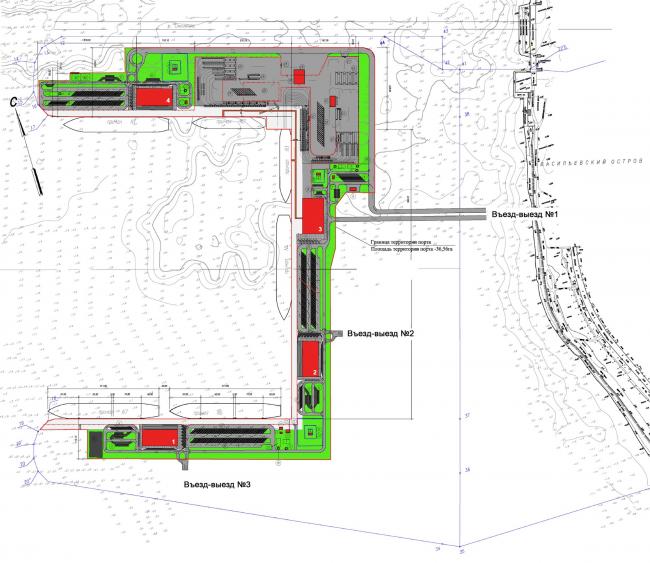 """Sea passenger terminal. Master plan © """"A.Len"""""""