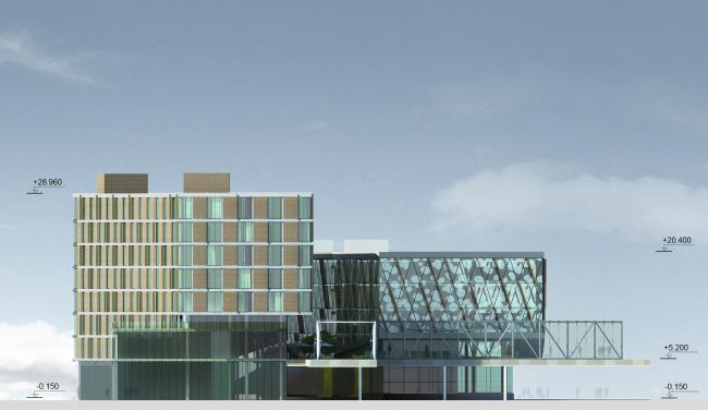 Бизнес-центр и гостиница у аэропорта «Пулково». Западный фасад © А.Лен
