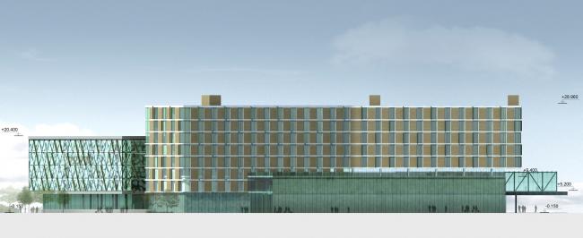 Бизнес-центр и гостиница у аэропорта «Пулково». Северный фасад © А.Лен