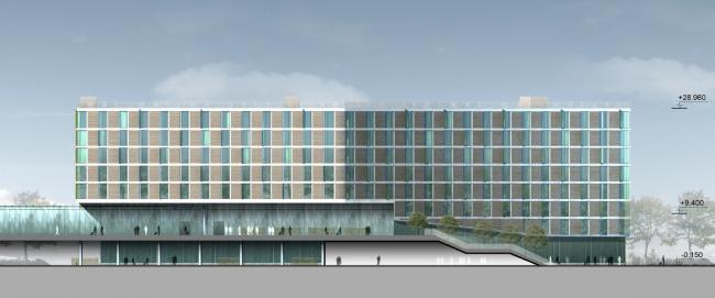 Бизнес-центр и гостиница у аэропорта «Пулково». Гостиница, Южный фасад © А.Лен