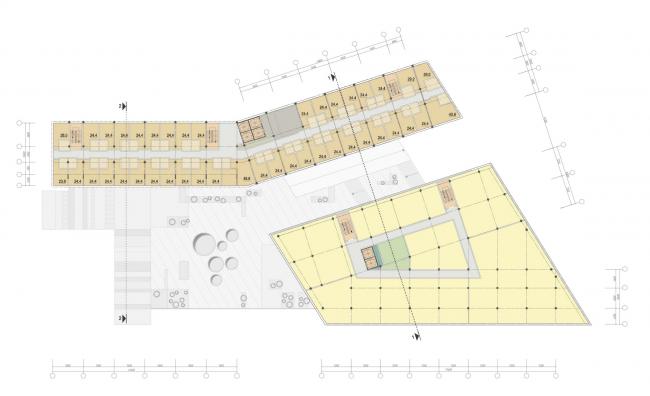 Бизнес-центр и гостиница у аэропорта «Пулково». План типового этажа © А.Лен