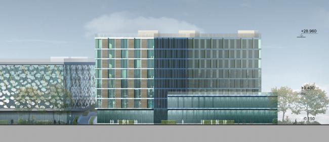 Бизнес-центр и гостиница у аэропорта «Пулково». Гостиница, восточный фасад © А.Лен