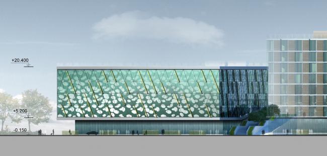 Бизнес-центр и гостиница у аэропорта «Пулково».Бизнес-центр, восточный фасад © А.Лен