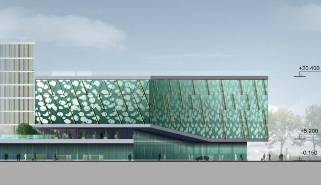 Бизнес-центр и гостиница у аэропорта «Пулково».Бизнес-центр, западный фасад © А.Лен