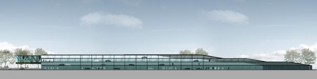 Бизнес-центр и гостиница у аэропорта «Пулково». Южный фасад парковки © А.Лен
