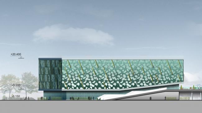 Бизнес-центр и гостиница у аэропорта «Пулково».Бизнес-центр, северный фасад © А.Лен