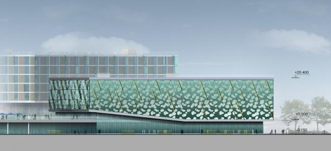 Бизнес-центр и гостиница у аэропорта «Пулково».Бизнес-центр, южный фасад © А.Лен