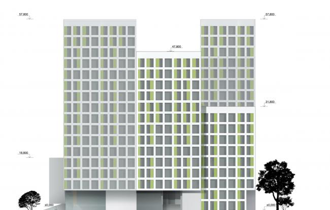 Учебно-административный корпус №2 в г. Мытищи. Вариант 1. Восточный фасад © ПТАМ Виссарионова