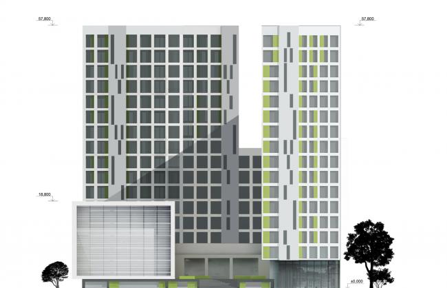 Учебно-административный корпус №2 в г. Мытищи. Вариант 1. Южный фасад © ПТАМ Виссарионова