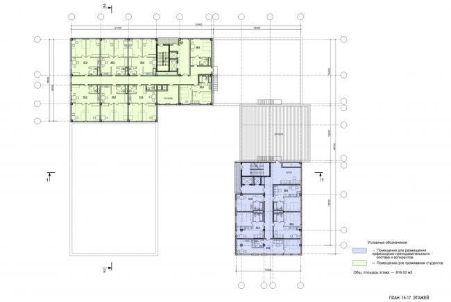 Учебно-административный корпус №2 в г. Мытищи. Вариант 1. План 15-17 этажей © ПТАМ Виссарионова