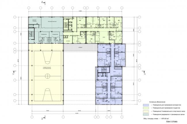 Instruction and administrative building №2 in Mytischi. Version 2. Plan of the third floor © Vissarionov Studio