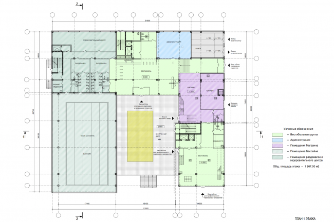Instruction and administrative building №2 in Mytischi. Version 2. Plan of the first floor © Vissarionov Studio