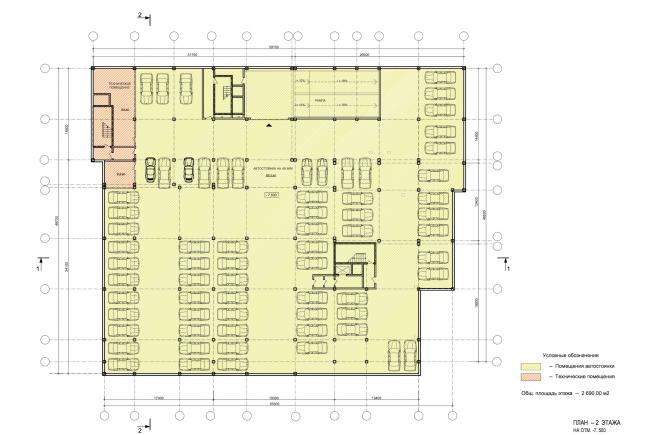 Учебно-административный корпус №2 в г. Мытищи. Вариант 1. План -2 этажа © ПТАМ Виссарионова