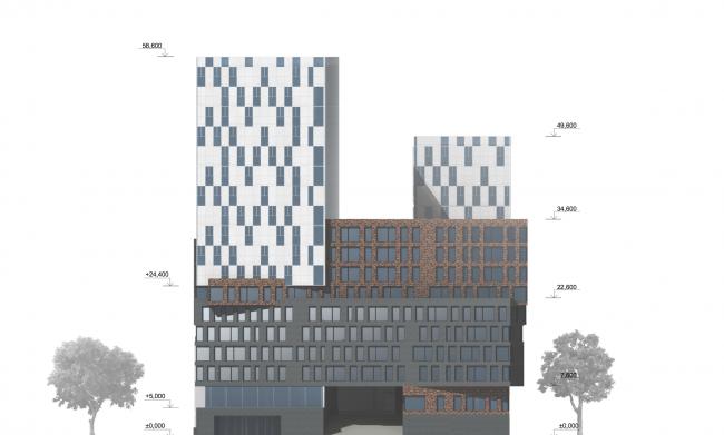 Учебно-административный корпус №2 в г. Мытищи. Вариант 2. Восточный фасад © ПТАМ Виссарионова