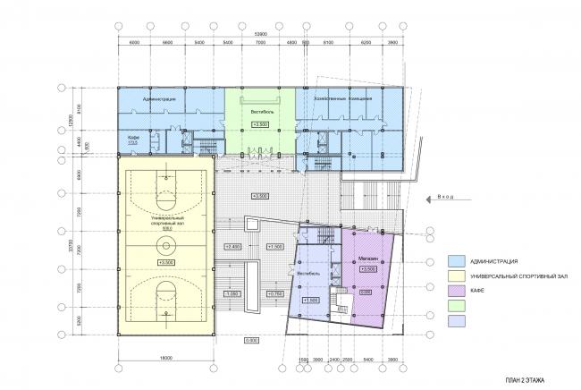 Учебно-административный корпус №2 в г. Мытищи. Вариант 2. План 2 этажа © ПТАМ Виссарионова