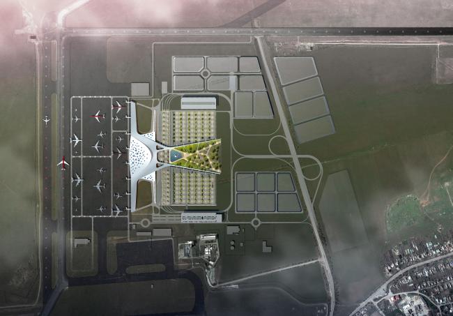 Simferopol International Airport. Location plan © Asadov Architectural Bureau