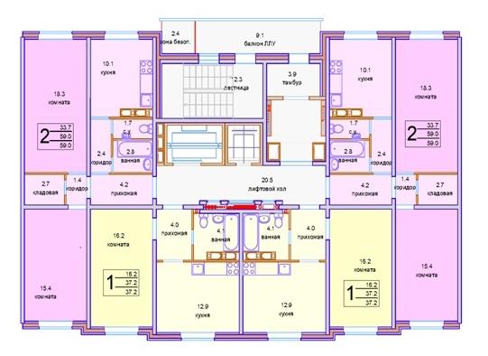 Панельная серия жилых домов. Базовая секция © «СУ-155»