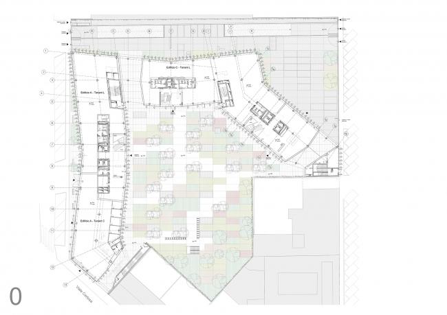 План офисного комплекса Green Place на уровне земли © Goring & Straja Architects