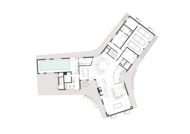 A private house in London′s Green Belt. Plan of the first floor © PANACOM