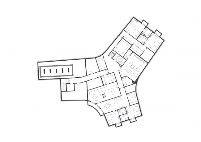 A private house in London's Green Belt. Plan of the basement floor © PANACOM