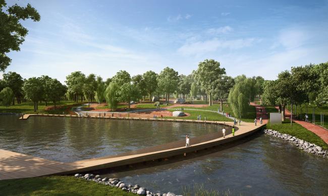 Концептуальный проект «Сад Будущего». Вид на озеро © Ai-architects
