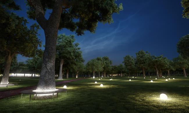 Концептуальный проект «Сад Будущего». Ночная подсветка © Ai-architects