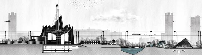 Диплом II степени. Таисия Афиногенова. Дипломный проект «Экспо-парк «Раменки». Фрагмент панорамы экспоцентра