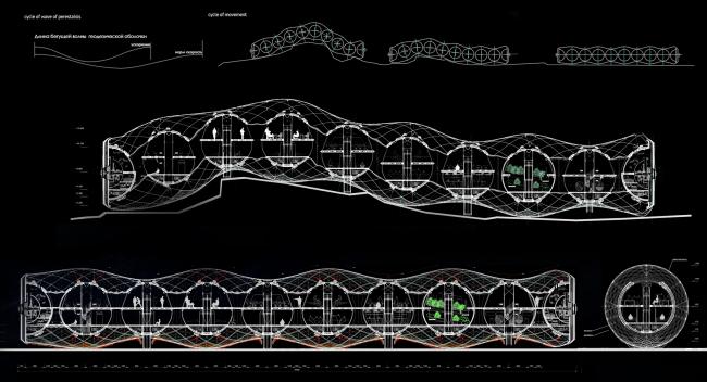 Диплом III степени. Аюна Митупова. Дипломный проект «Кинетические морфологии. Научно-исследовательская станция в экстремальных условиях». Разрезы: поддержание уровней платформ обитания во время движения по активному рельефу