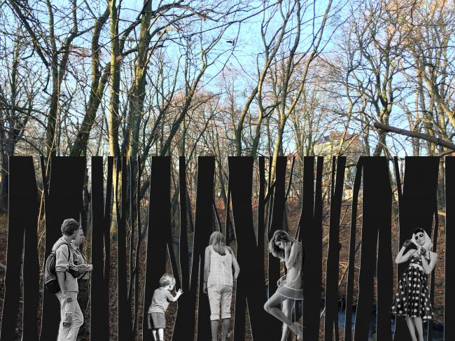 Концепция благоустройства территории ручья «Парковый» в Калининграде. Общий вид ограждения зоопарка © Творческая мастерская Т.М.