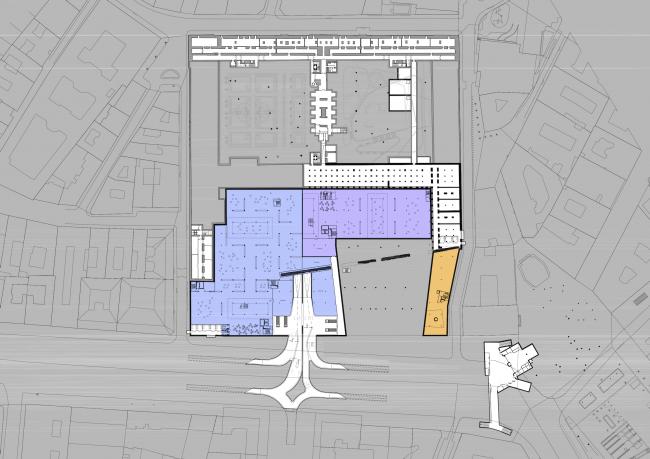 Проект для Новой национальной галереи и Музея Людвига в Будапешете. План цокольного этажа © (designed by) Erick van Egeraat